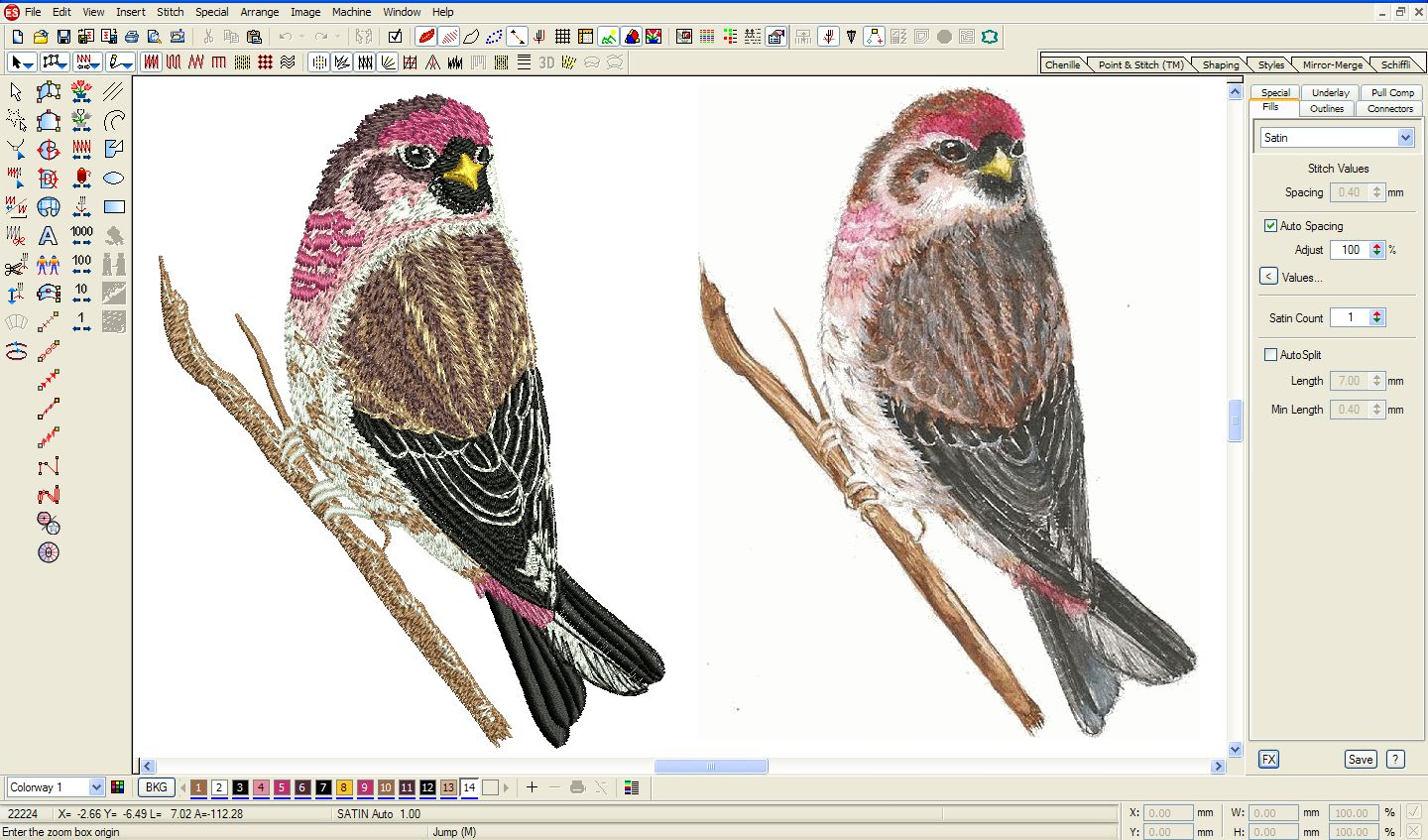 Embroidery Digitizing Bird 2